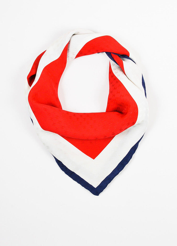 Red, Cream and Navy Chanel Silk Logo Bow Print Square Scarf Front