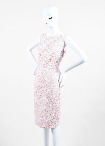 Christian Dior Pink Lace Overlay Sleeveless Sheath Dress Sideview