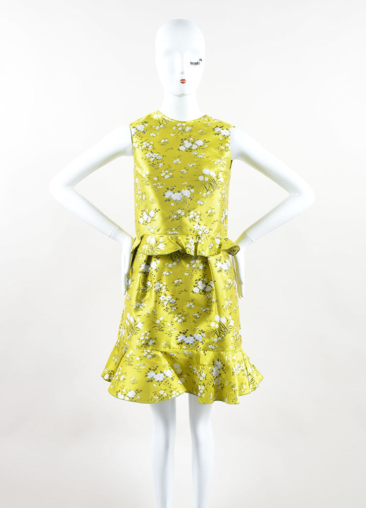 "Erdem Yellow and White Jacquard Floral Tiered Peplum Sleeveless ""Talia"" Dress Front"