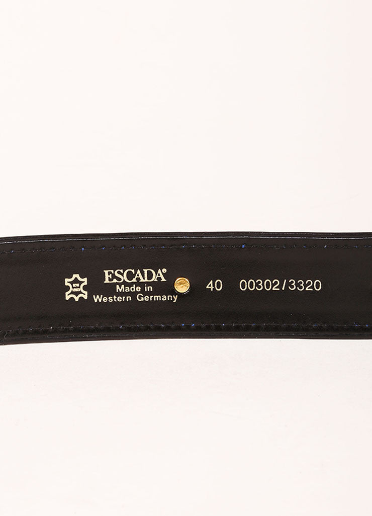 Escada Blue, Black, and Gold Toned Suede Geometric Embellished Belt Brand