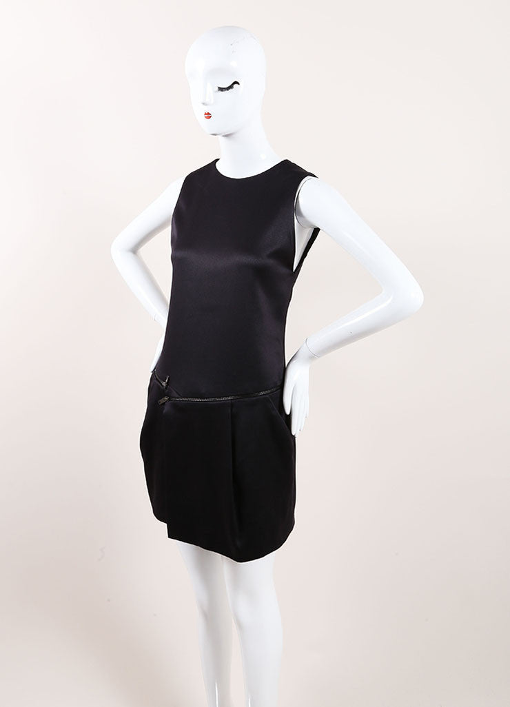 Gucci Black Silk Sleeveless Zipper Detail Shift Dress Sideview