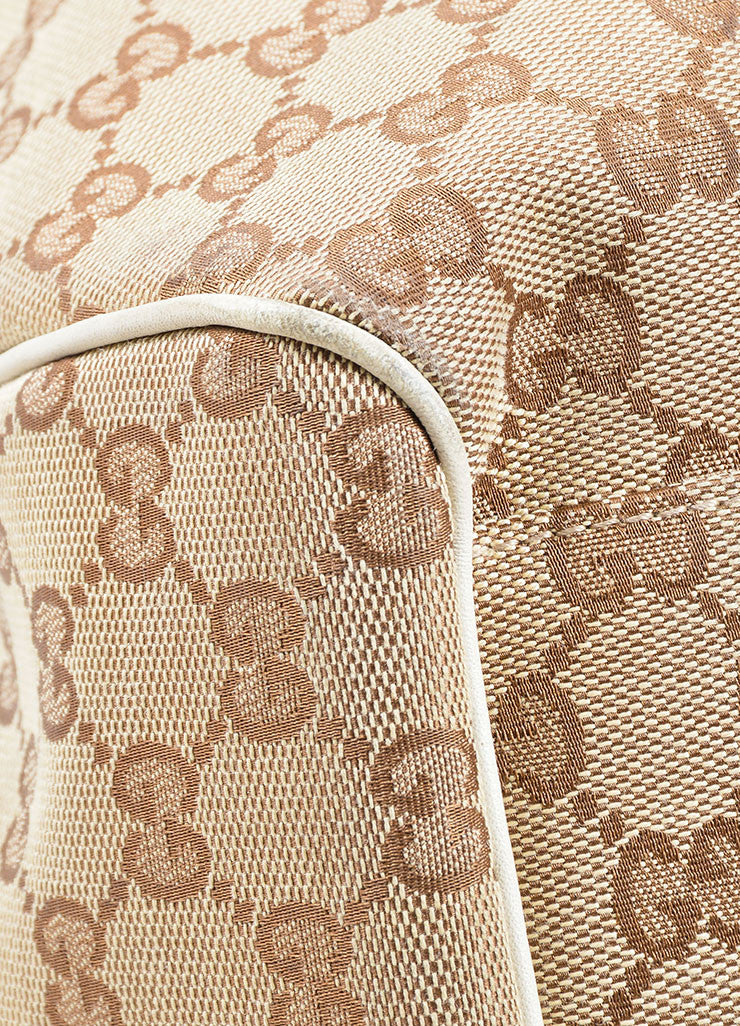 "Gucci Cream and Brown Canvas and Leather ""GG"" Monogram ""Guccissima"" Shoulder Bag Detail"