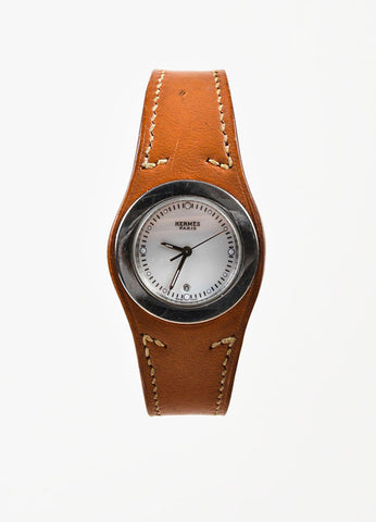 "Hermes Cognac Brown Leather Stainless Steel ""Harnais"" Watch Frontview"