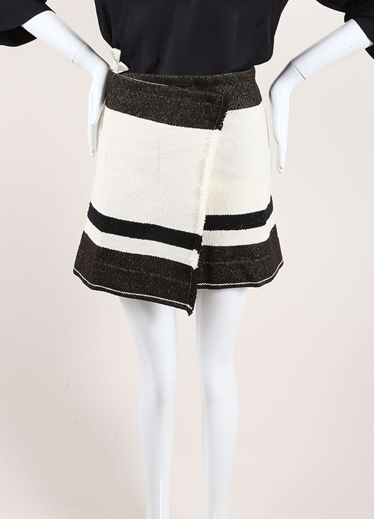 "Isabel Marant Black and Cream Wool Striped ""Adelaide Blanket"" Skirt Frontview"