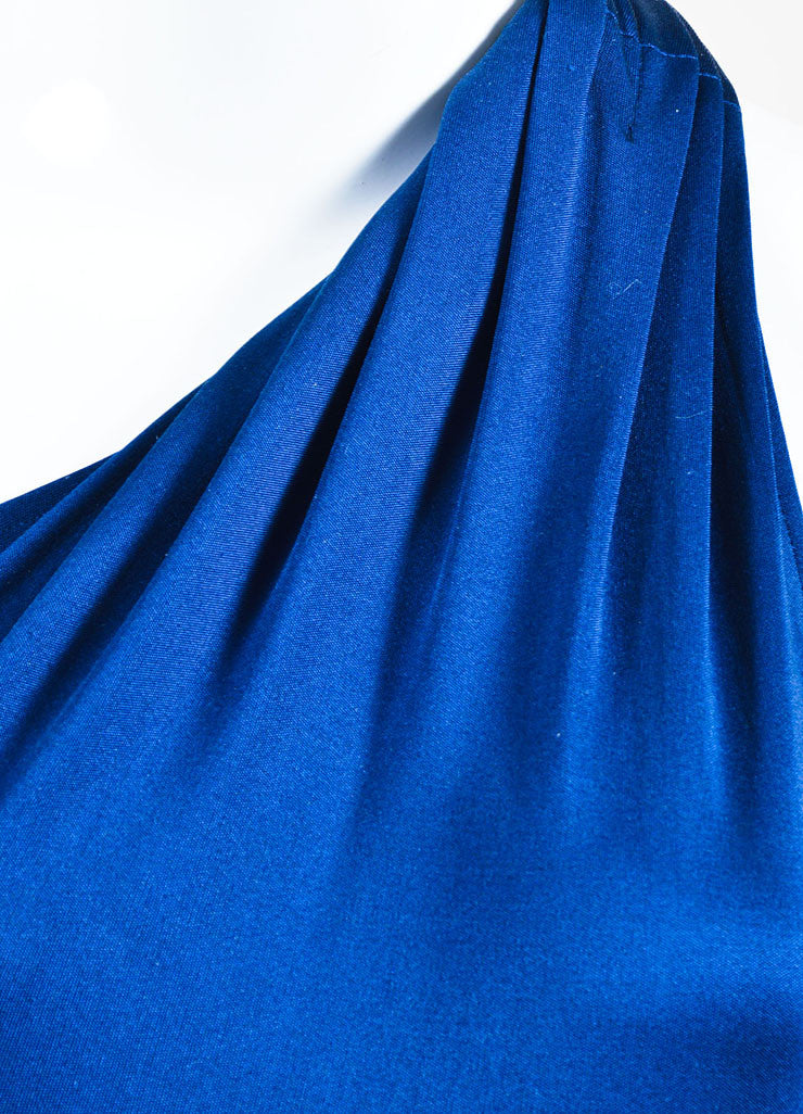 Blue Issa London Silk Jersey One Shoulder Maxi Dress Detail