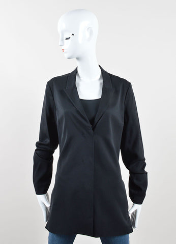 Jil Sander Black Cotton Fringe Thread Back Cut Out Blazer Frontview