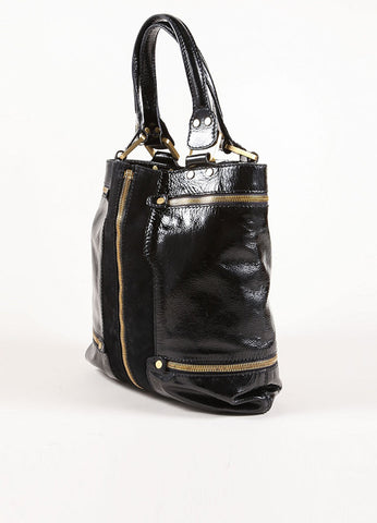 "Jimmy Choo Black and Gold Zipper Suede Leather Expandable ""Mona"" Tote Bag Sideview"