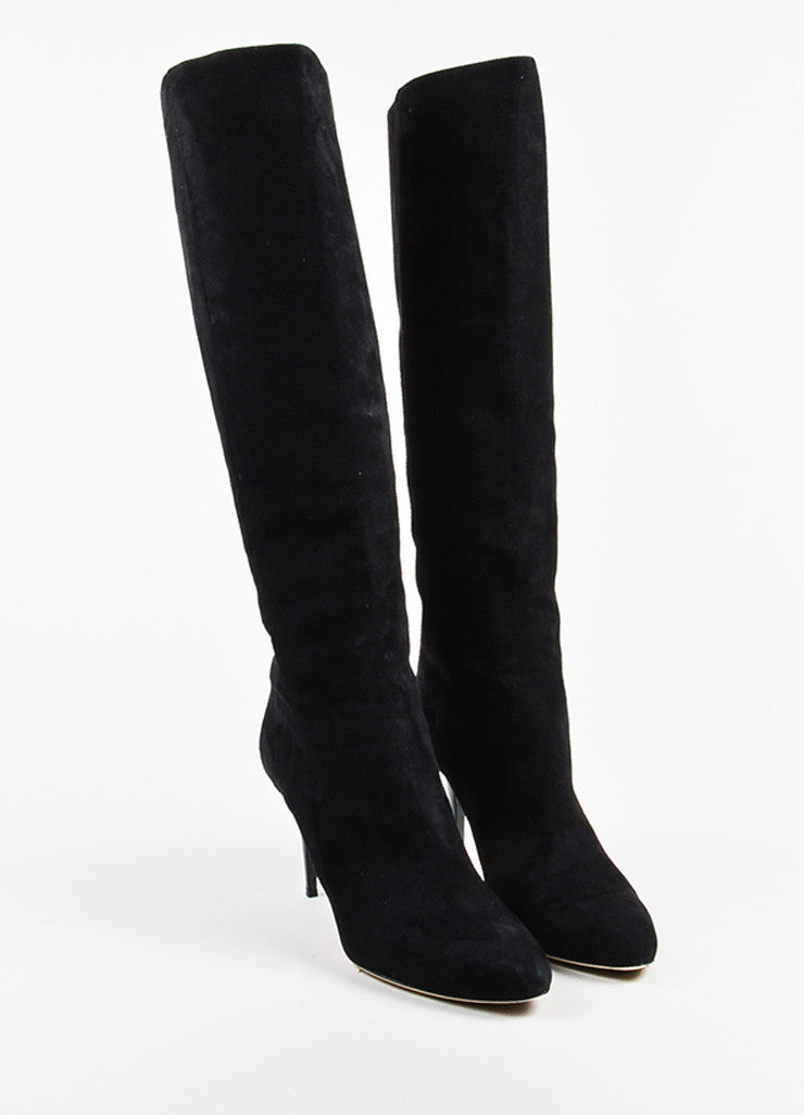 "Black Jimmy Choo Suede ""Grand"" High Heel Knee Boots Front"