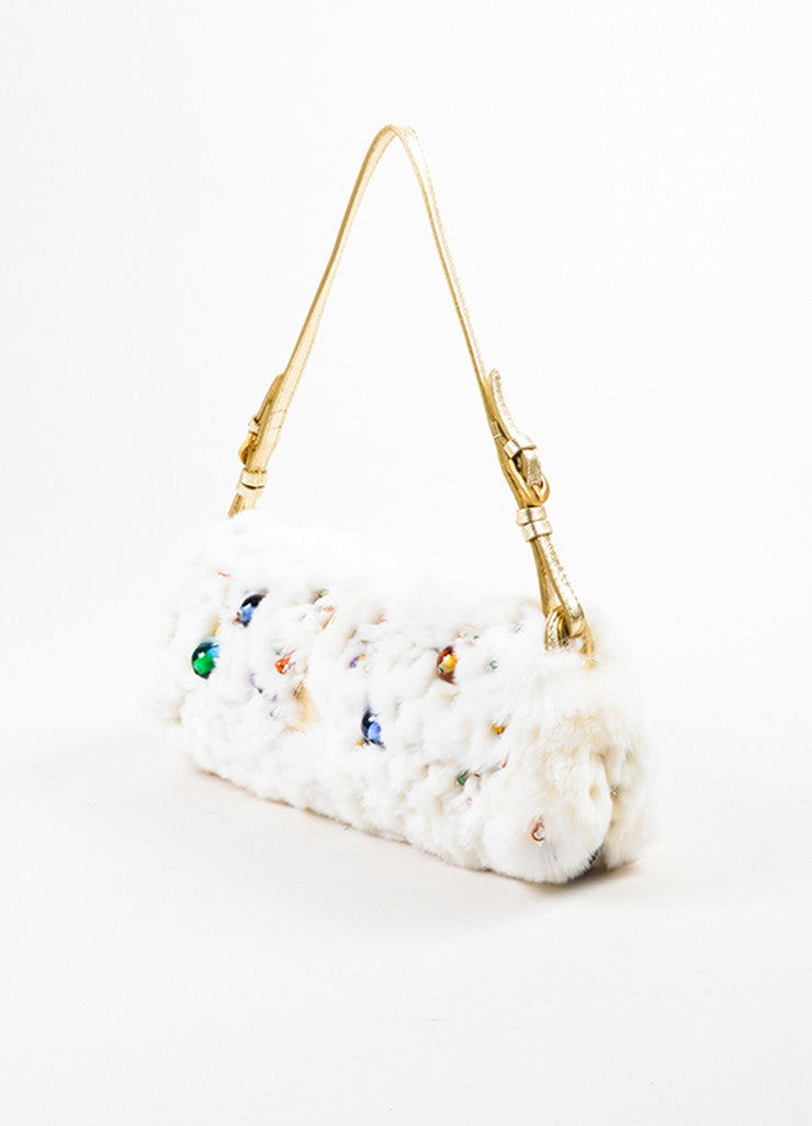 "Jimmy Choo White Rabbit Fur Multicolor Beaded Gold Toned Handle ""Tulita"" Bag Sideview"