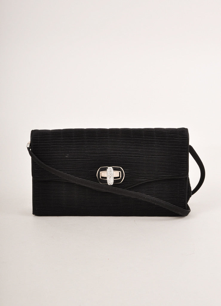 Judith Leiber Black Satin and Rhinestone Turn Lock Ribbed Evening Bag Frontview