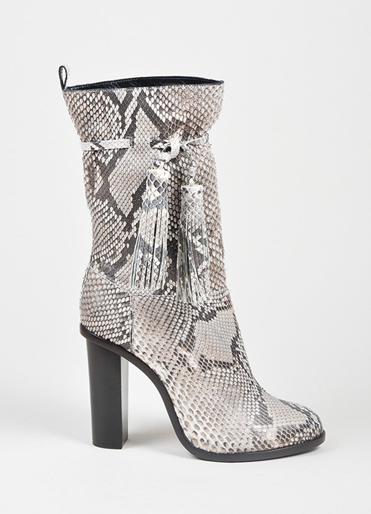 White and Grey Lanvin Python Tassel Mid Calf Heel Boots Sideview