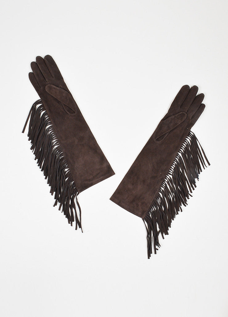 Brown Lanvin Suede Leather Fringe Trimmed Long Gloves Back