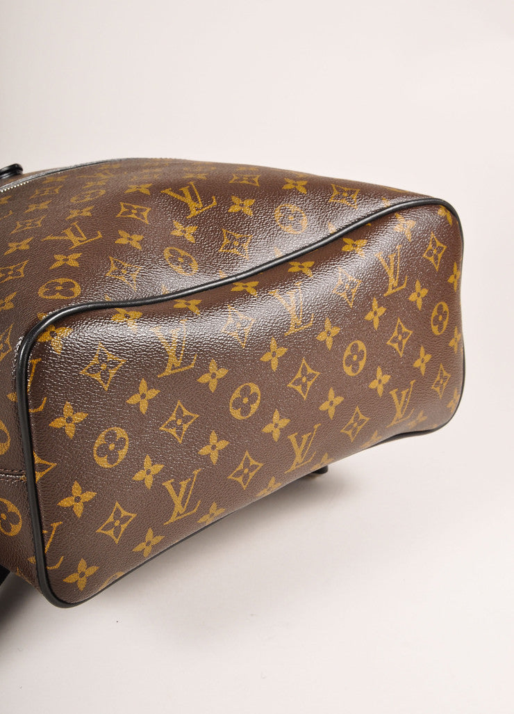 "Louis Vuitton Brown and Black Monogram Macassar Canvas and Leather ""Palk"" Backpack Bottom View"