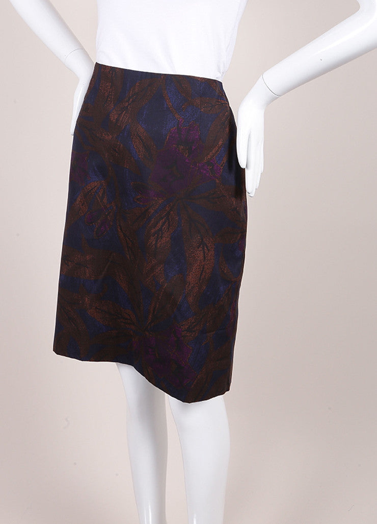 Marc Jacobs New With Tags Brown, Blue, and Purple Leaf Print Cotton Pencil Skirt Sideview