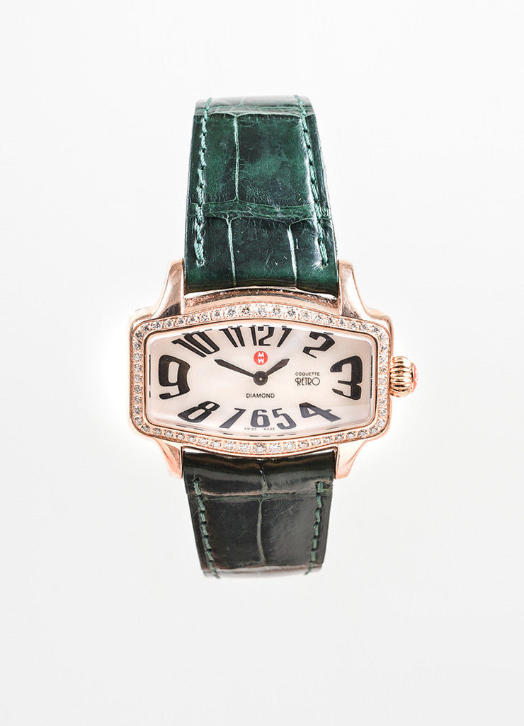 "Michele Rose Gold Toned Alligator Strap Diamond ""Coquette Retro"" Watch Frontview"