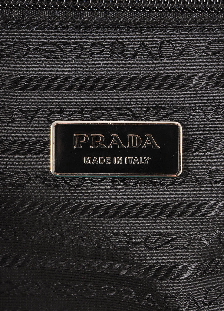 Prada Black Nylon With Leather Trim Buckled Large Rolling Suitcase Brand