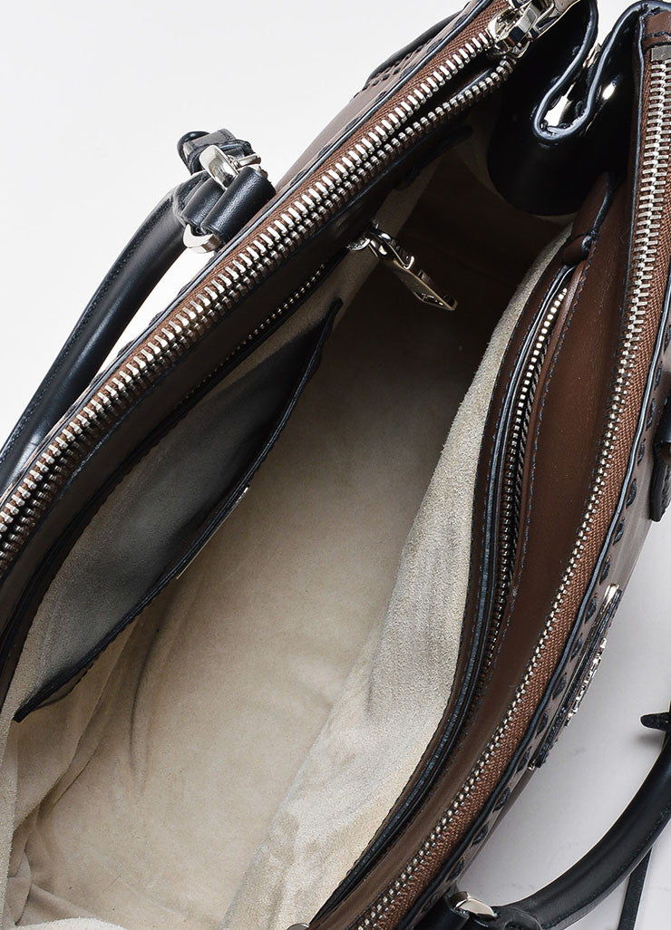 Brown and Black Prada Leather Topstitch City Calf Double Zip Tote Bag Interior
