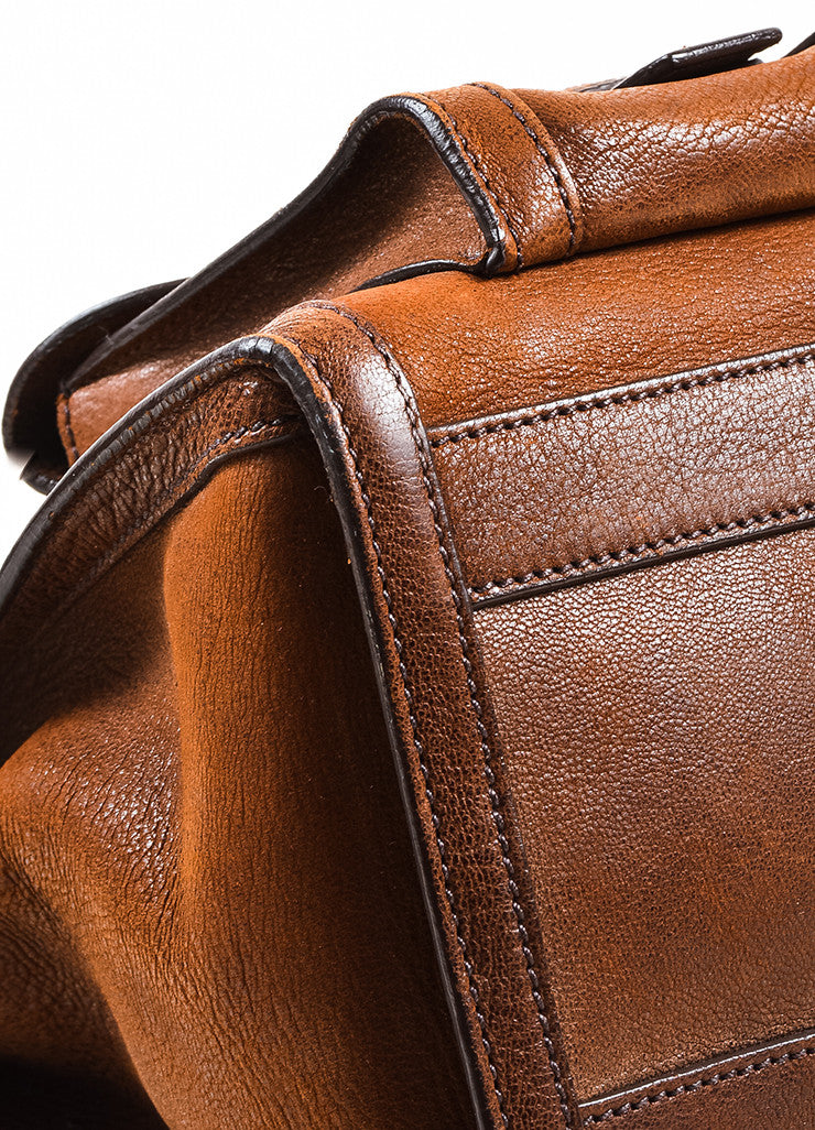Brown Prada Leather Double Pocket Buckle Top Handle Flap Satchel Bag Detail 2