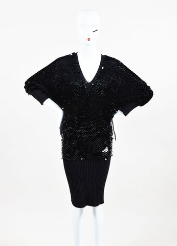 Roberto Cavalli Black Cashmere Paillette Embellished Sweater Dress Frontview