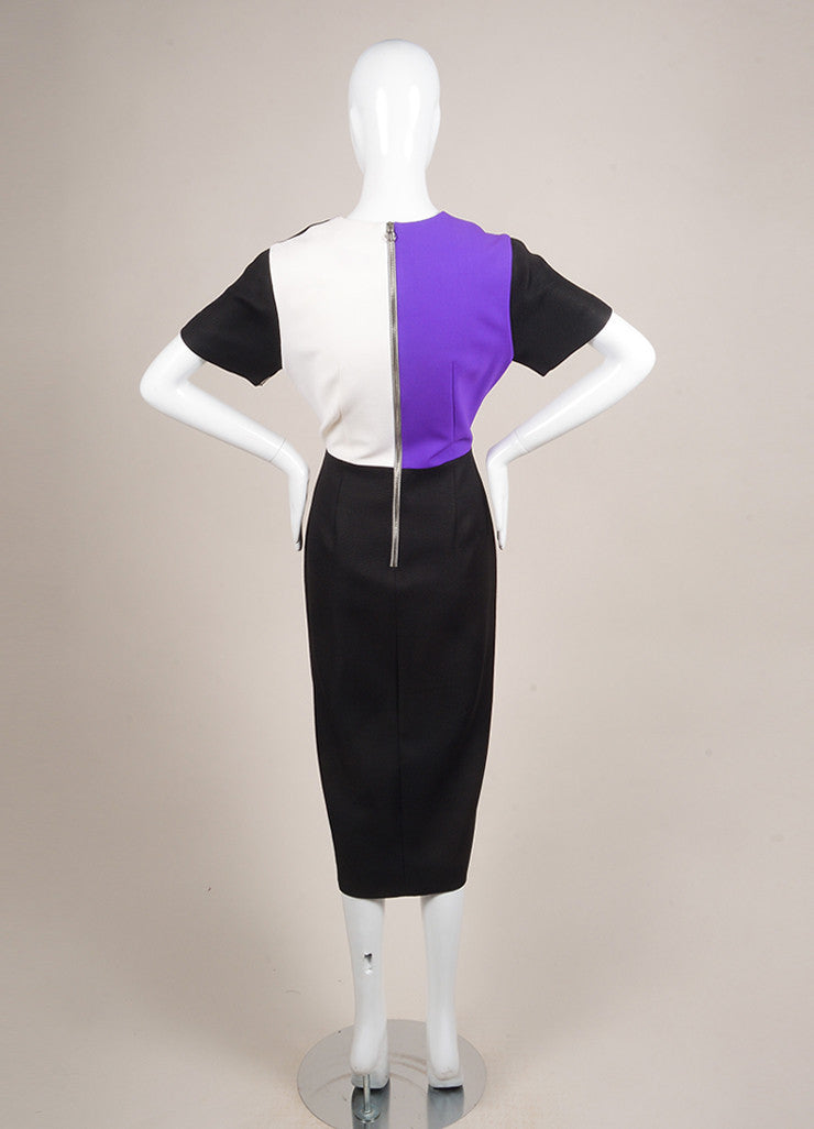 Roksanda Ilincic New With Tags Purple, Cream, and Black Wool Blend Color Block Dress Backview