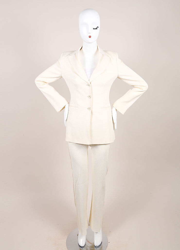 Versace Cream Diamond Textured Wool Tuxedo Pants Suit Frontview