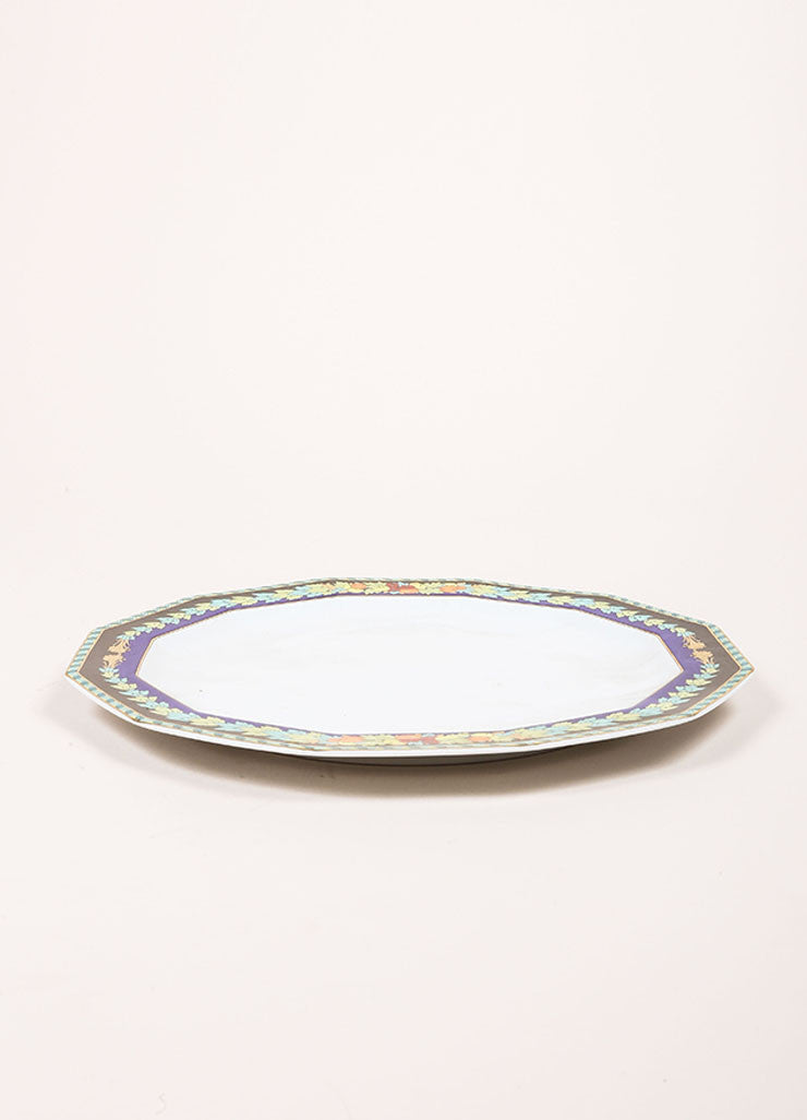 "Versace Rosenthal Blue and Green ""Le Roi Soleil"" 10.5 inch Dodecagaon Dinner Plate Sideview"