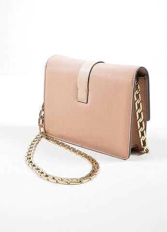 Pink Nude Victoria Beckham Leather Mini Chain Strap Satchel Bag Sideview