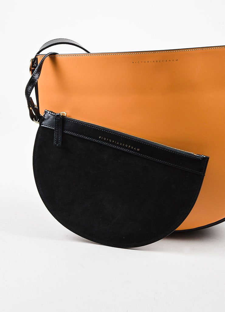 "Tan & Navy Victoria Beckham Leather Color Block ""Half Moon"" Bag Detail 5"