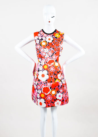 Multicolor Victoria Beckham Floral Sleeveless A Line Dress Front 2