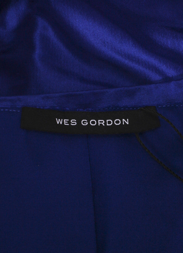 "Wes Gordon ""Lapis"" Blue Silk Taffeta Turban Draped Empire Top Brand"