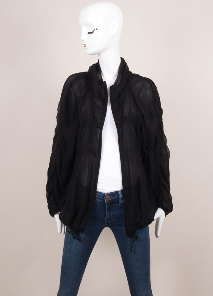 Alberta Ferretti Black Silk Chiffon Ruched Sheer Jacket Frontview