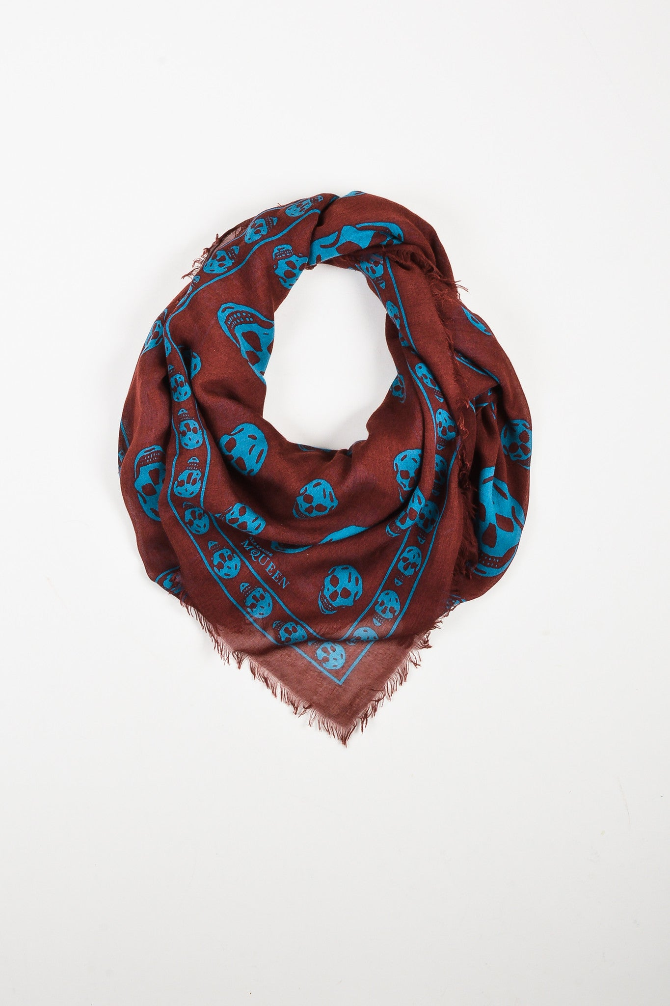Maroon Blue Alexander McQueen Sheer Skull Print Frayed Square Scarf Front