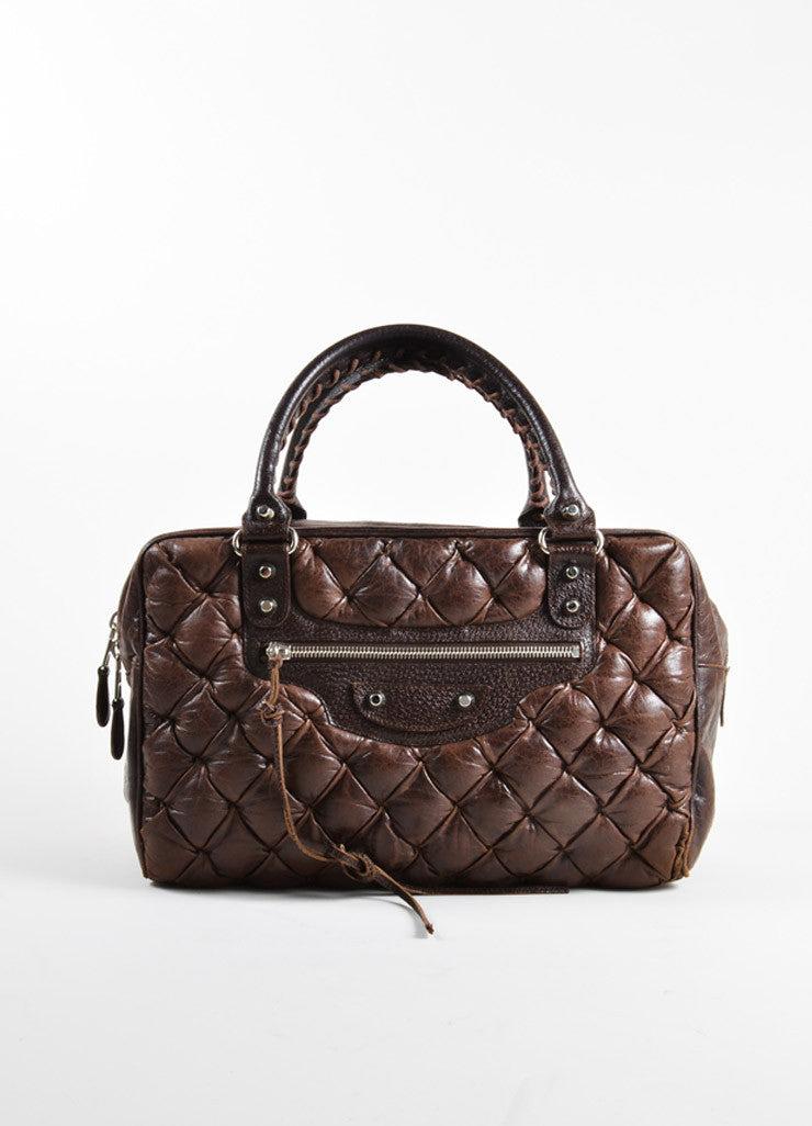"Balenciaga Dark Brown Quilted Leather ""Matelasse"" Satchel Bag Frontview"