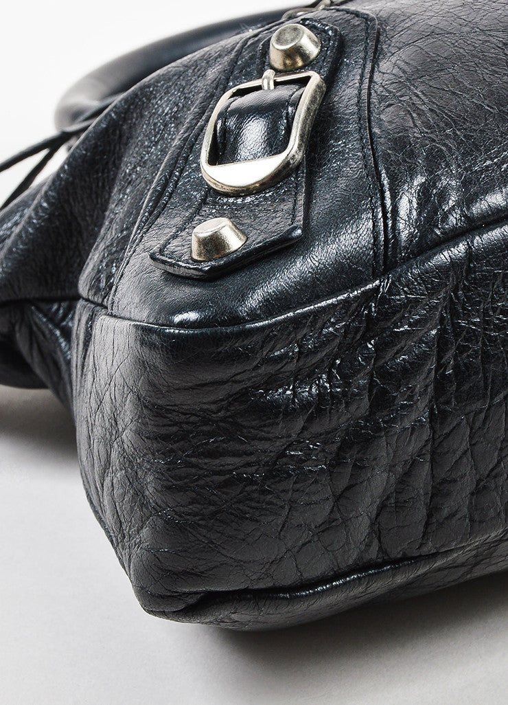 "Balenciaga Black Leather Silver Toned Hardware ""Classic First"" Shoulder Bag Detail"