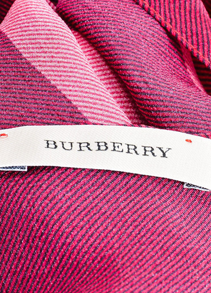 Pink, Black, and Orange Burberry Silk Check Print Scarf Brand