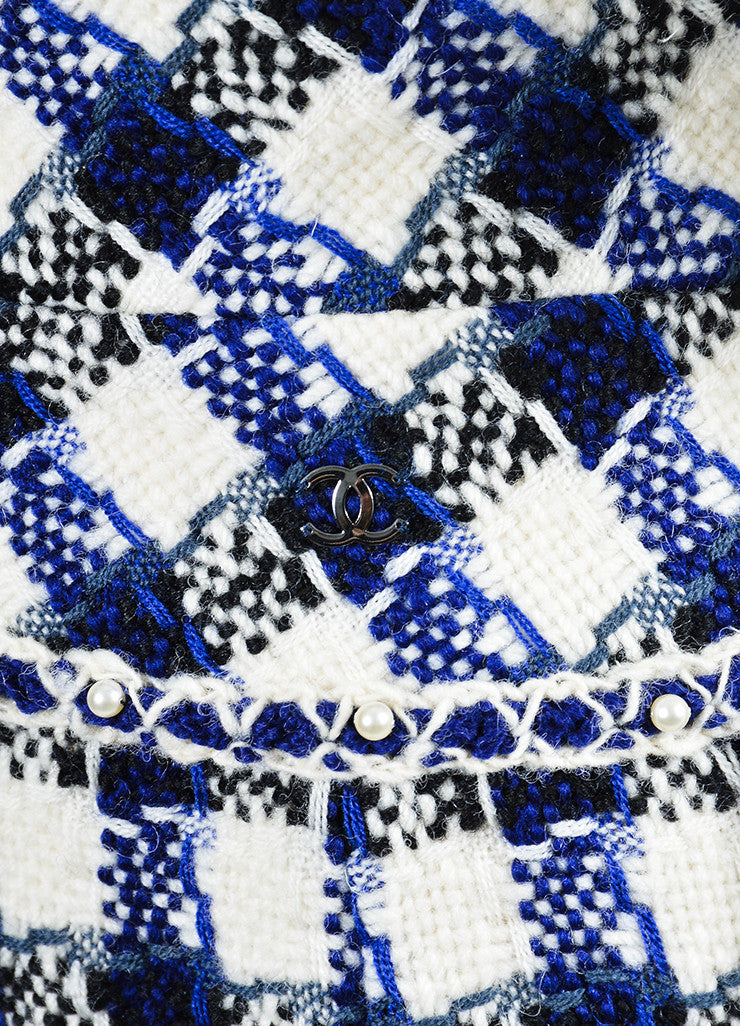 Cream, Blue, and Black Chanel Wool and Faux Pearl Checkered Pencil Skirt Detail