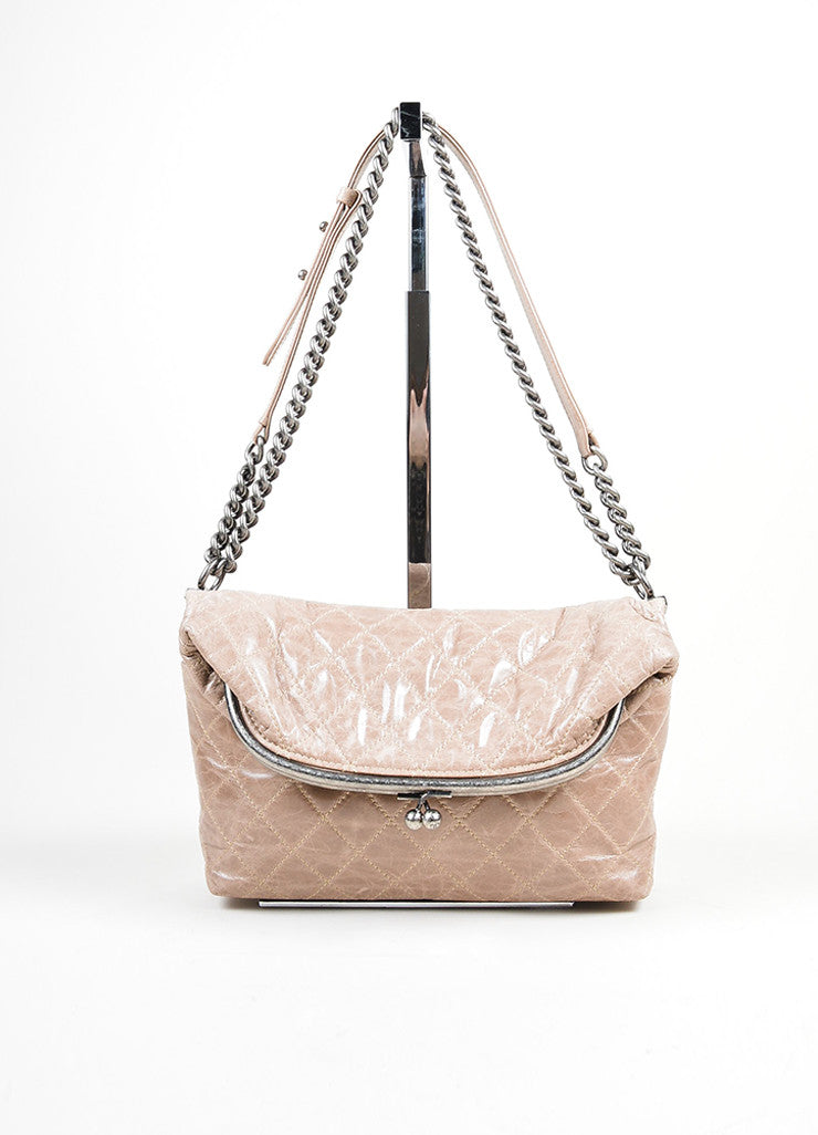Beige-Grey Chanel Distressed Lambskin Foldover Kisslock Clasp Shoulder Bag Frontview