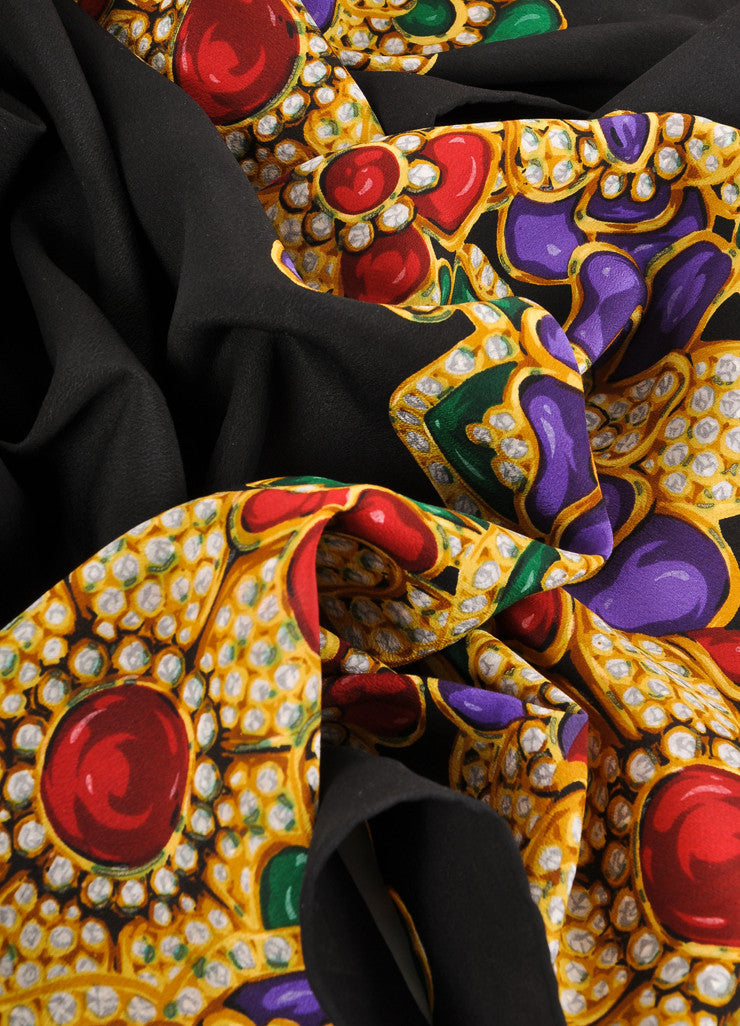 Chanel Black and Multicolor Jeweled Floral Print Silk Scarf Detail