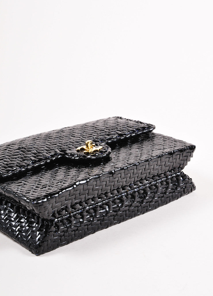 "Chanel Black Woven Straw Rectangular ""CC"" Turnlock Chain Strap Flap Shoulder Bag Bottom View"