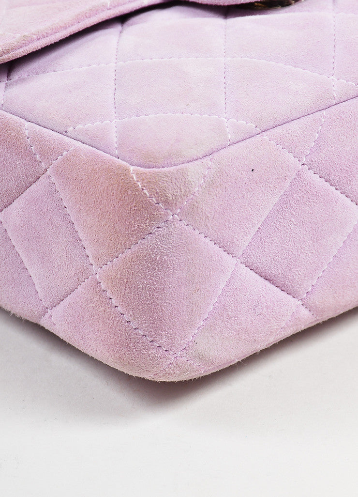 Lavender Purple Chanel Suede Quilted Turn Lock Mini Flap Purse Bag Detail