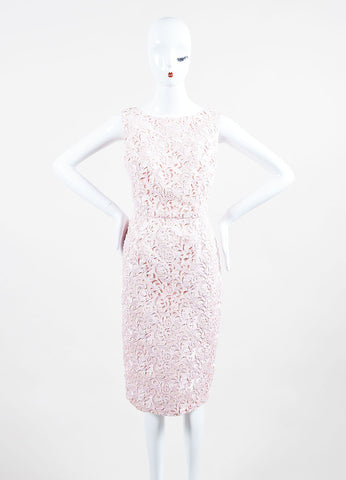 Christian Dior Pink Lace Overlay Sleeveless Sheath Dress Frontview