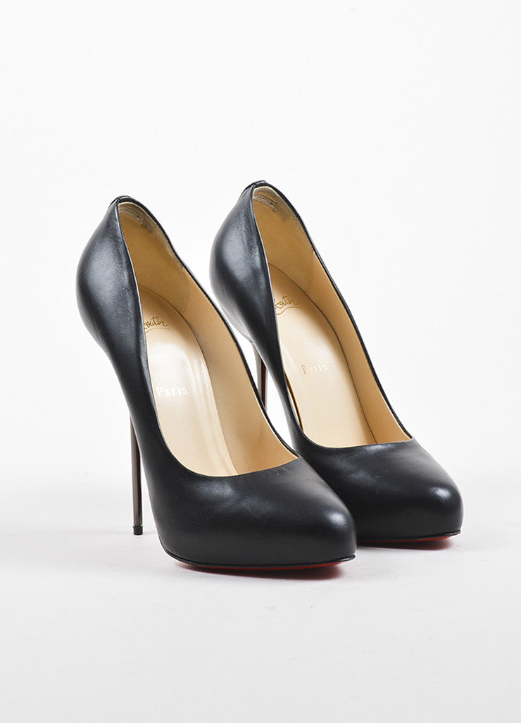 "Black Christian Louboutin Leather Stiletto Heel ""Big Lips 120"" Pumps Front"