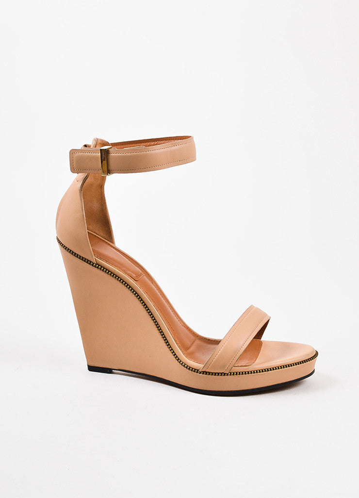 Givenchy Nude Leather Zipper Trim Ankle Strap Open Toe Wedge Sandals Side