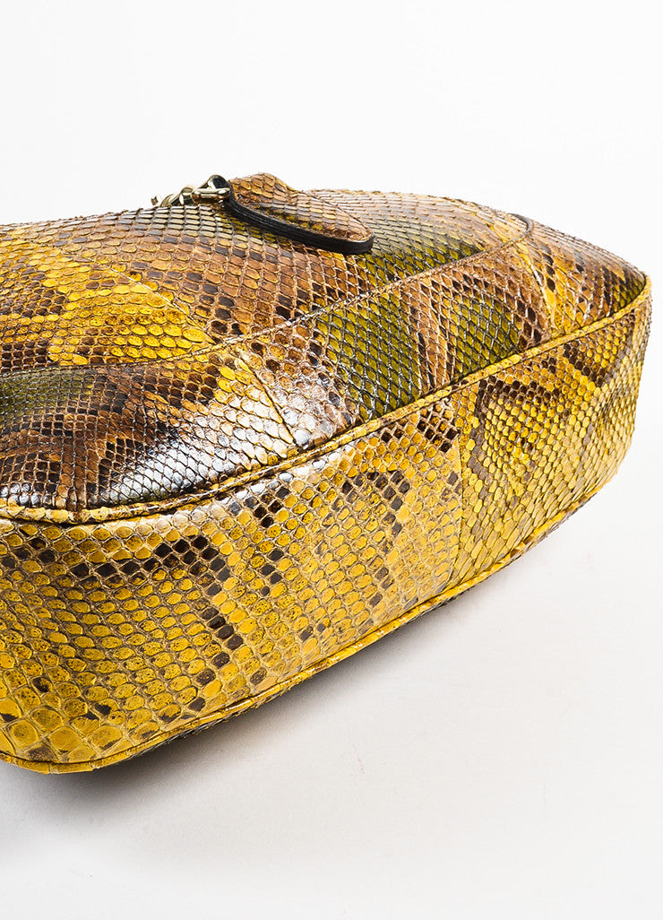 "Gucci Yellow and Green Python Embossed Leather GHW ""Jackie"" Bag Bottom View"
