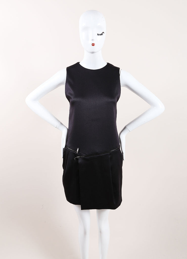 Gucci Black Silk Sleeveless Zipper Detail Shift Dress Frontview