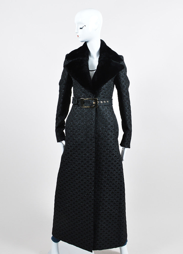 Black Gucci Wool and Silk Jacquard Fur Collar Belted Long Coat Frontview 2