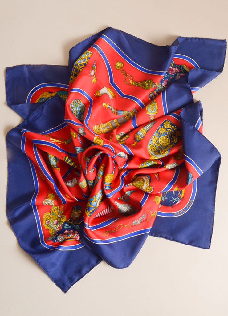 "Hermes Navy, Red, and Multicolor Perfume Bottle Print ""Qu'impore Le Flacon"" Silk Scarf Frontview"