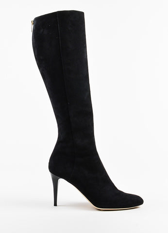 "Black Jimmy Choo Suede ""Grand"" High Heel Knee Boots Side"