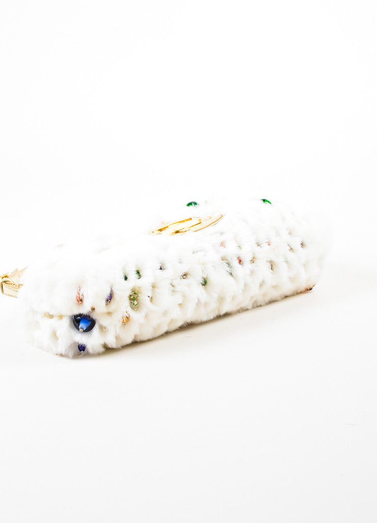 "Jimmy Choo White Rabbit Fur Multicolor Beaded Gold Toned Handle ""Tulita"" Bag Bottom View"