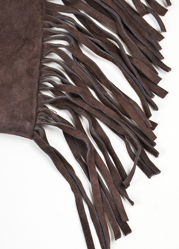 Brown Lanvin Suede Leather Fringe Trimmed Long Gloves Detail